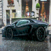 Super Car in the Rain